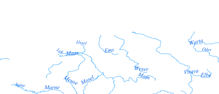 Layer 'Rivers' rendered in MapServer